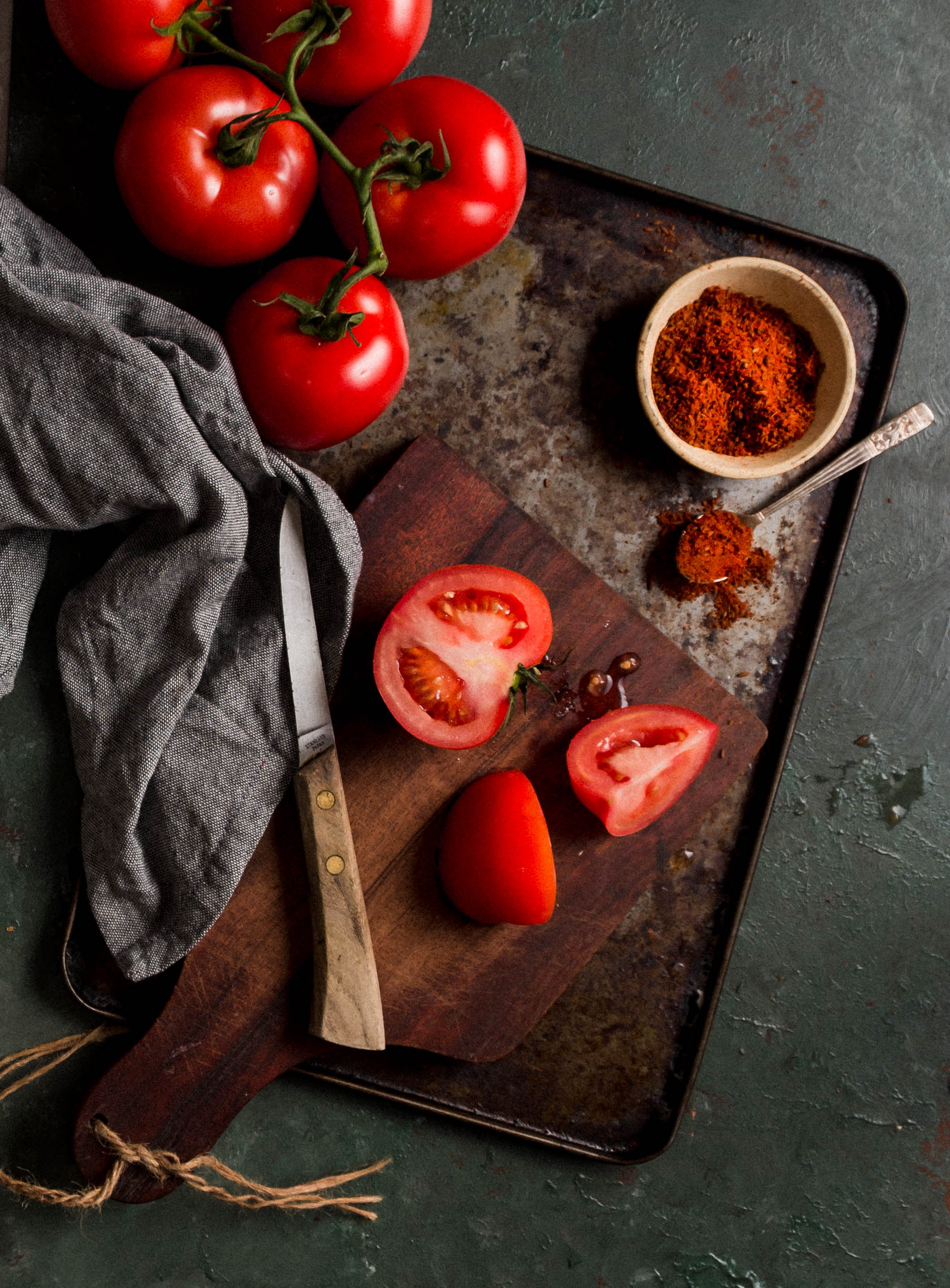 still life photography of tomatoes