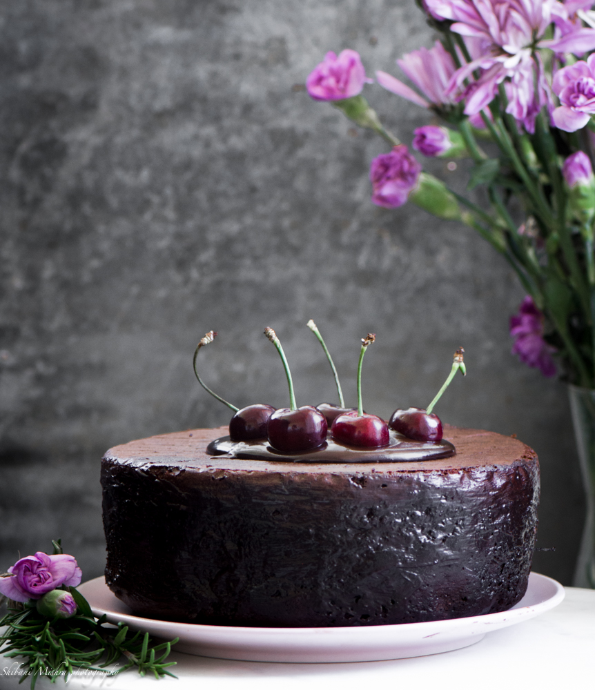 Chocolate Cherry cake-Think of this as a very glamorous chocolate cake with cherry compote as a filling. This cake is going to live up to the expectations.