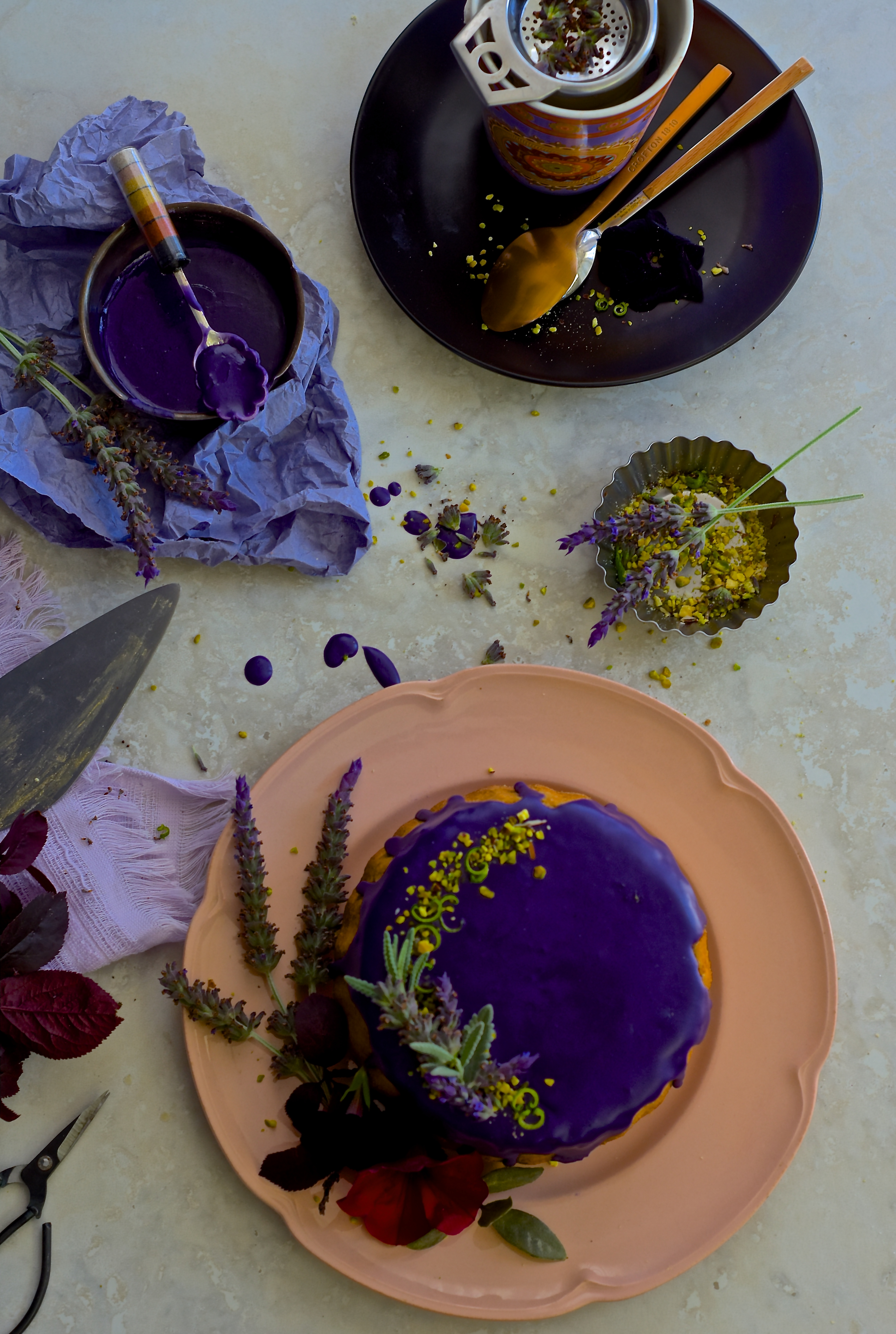 This pistachios lime cake is scrumptious and nutty but the addition of lime zest and lavender glaze teleports it to a next level of indulgence