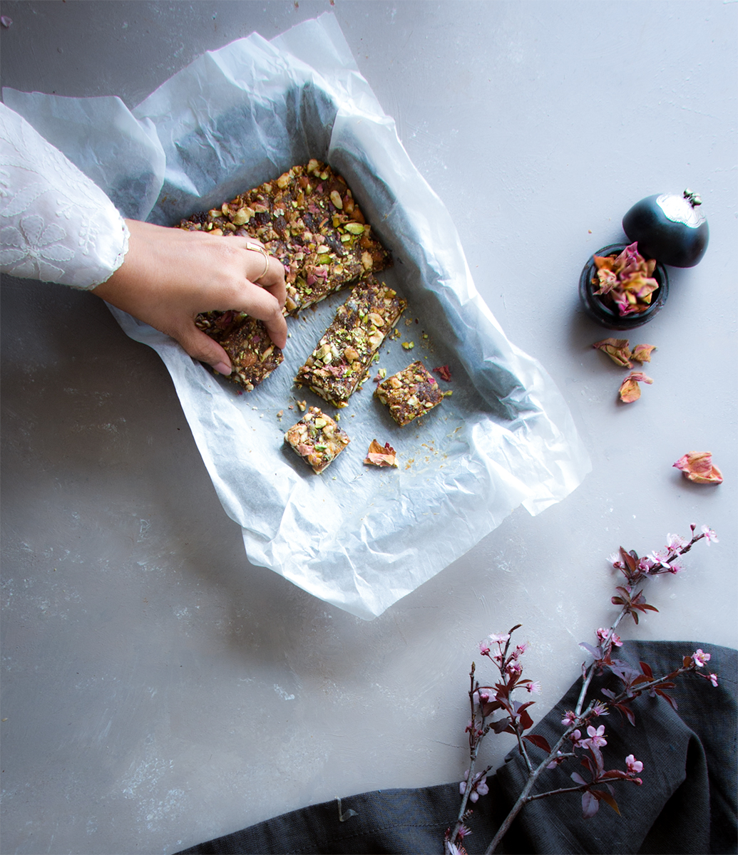 Anjeer barfi a sugar free dessert using dried figs loaded nuts, flavoured with rose water, I can't stop myself from snacking on it.