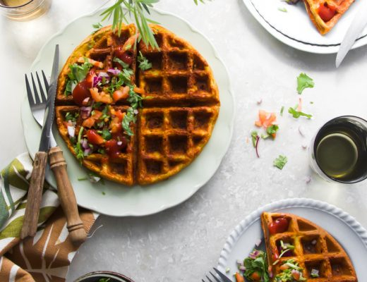 Eggless savoury chickpea waffles