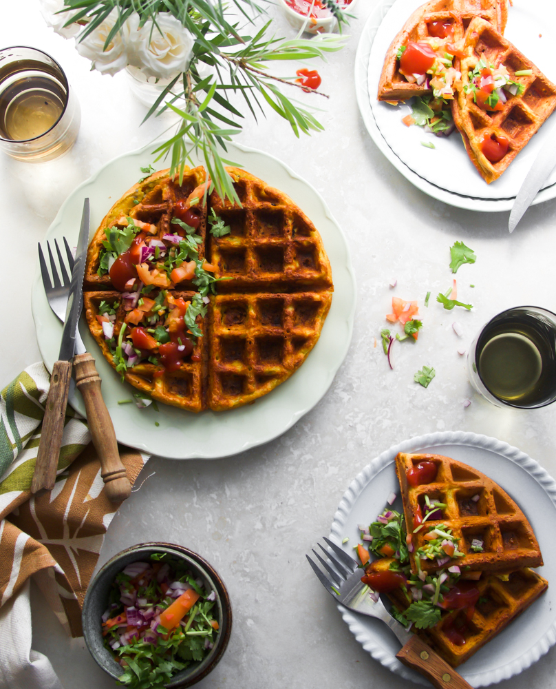 Eggless chickpea waffles