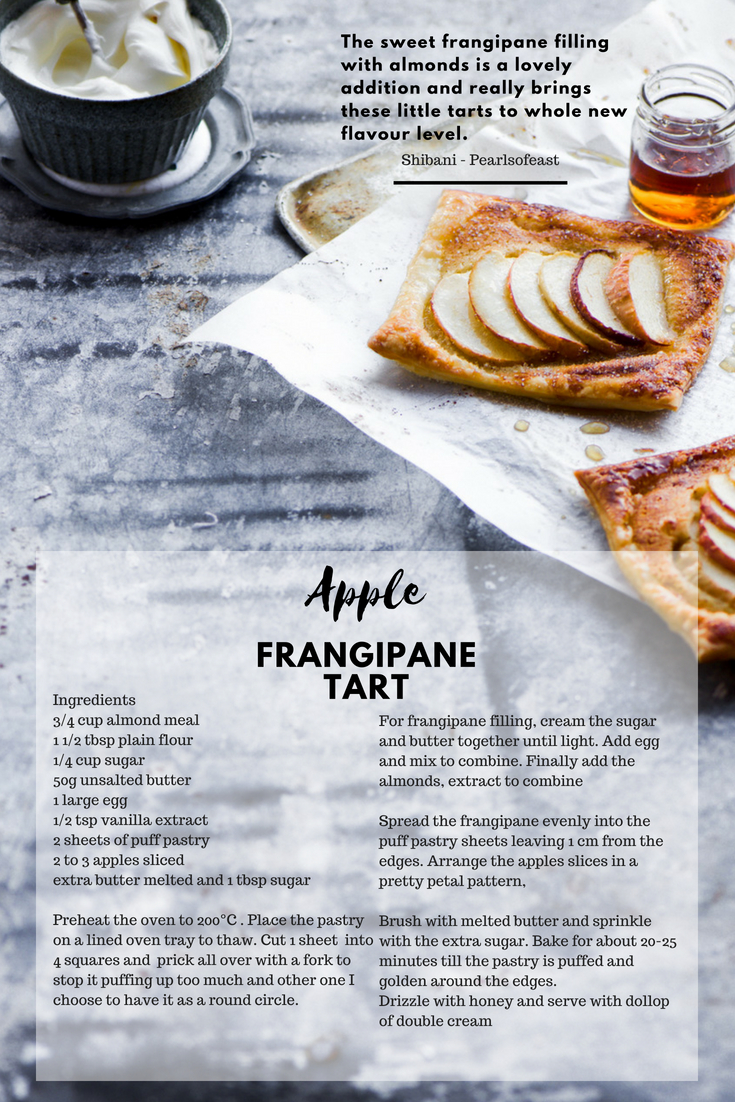 Having this warm flaky frangipane tart lined with apple and paired with glorious almond filling and served with double cream is simply irresistible.