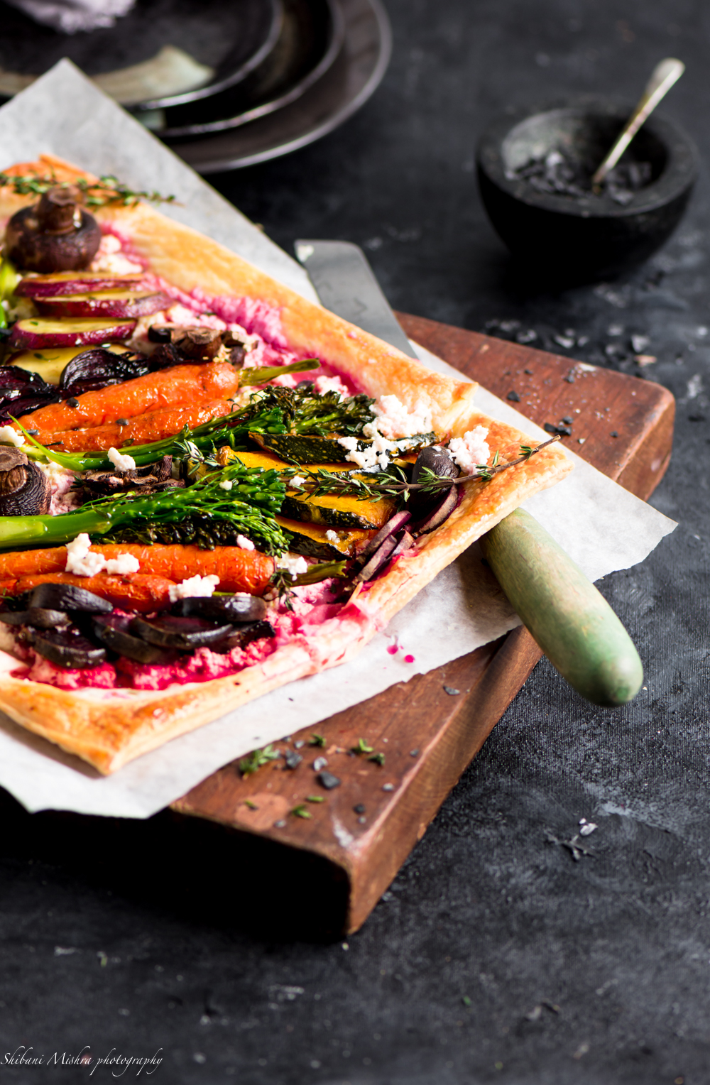 roasted vegetable ricotta tart