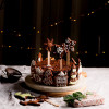 Healthy Christmas Cake with chocolate gingerbread cookies