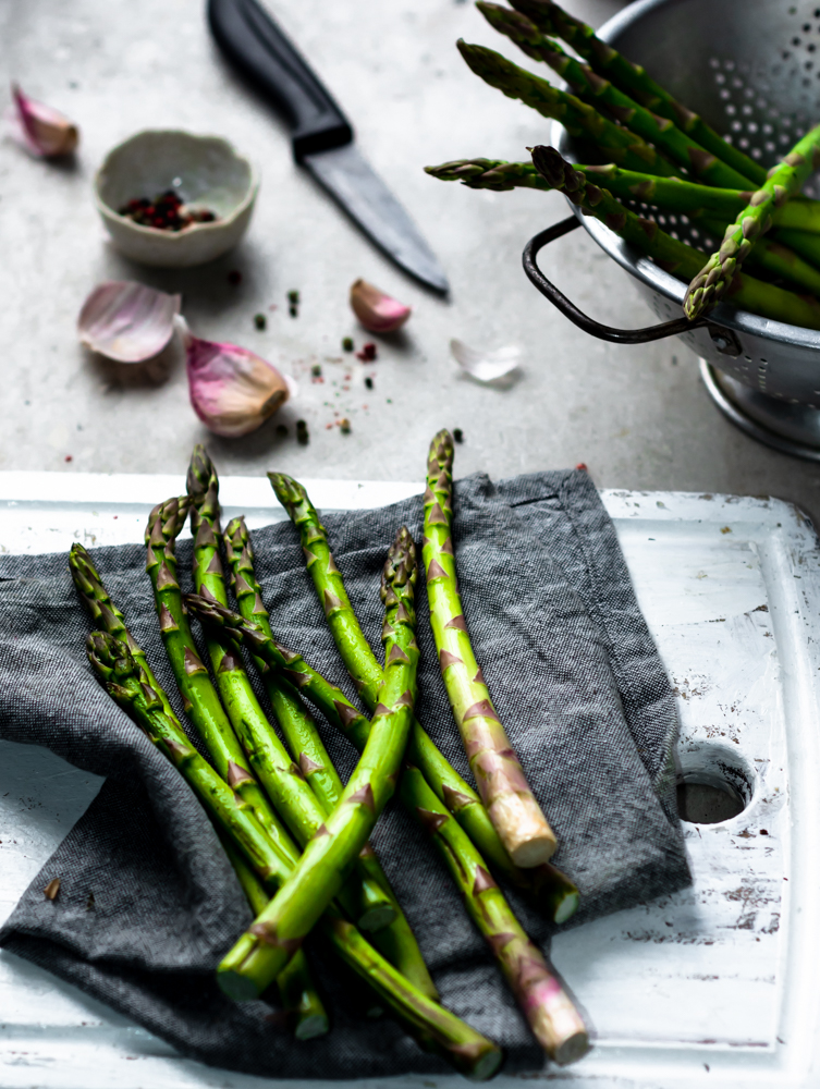 still life images of asparagus