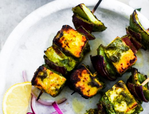 This hariyali paneer tikka is a super quick dish to cook.Paneer cooks in a matter of minutes and soaks in the flavour of the marinade really well.