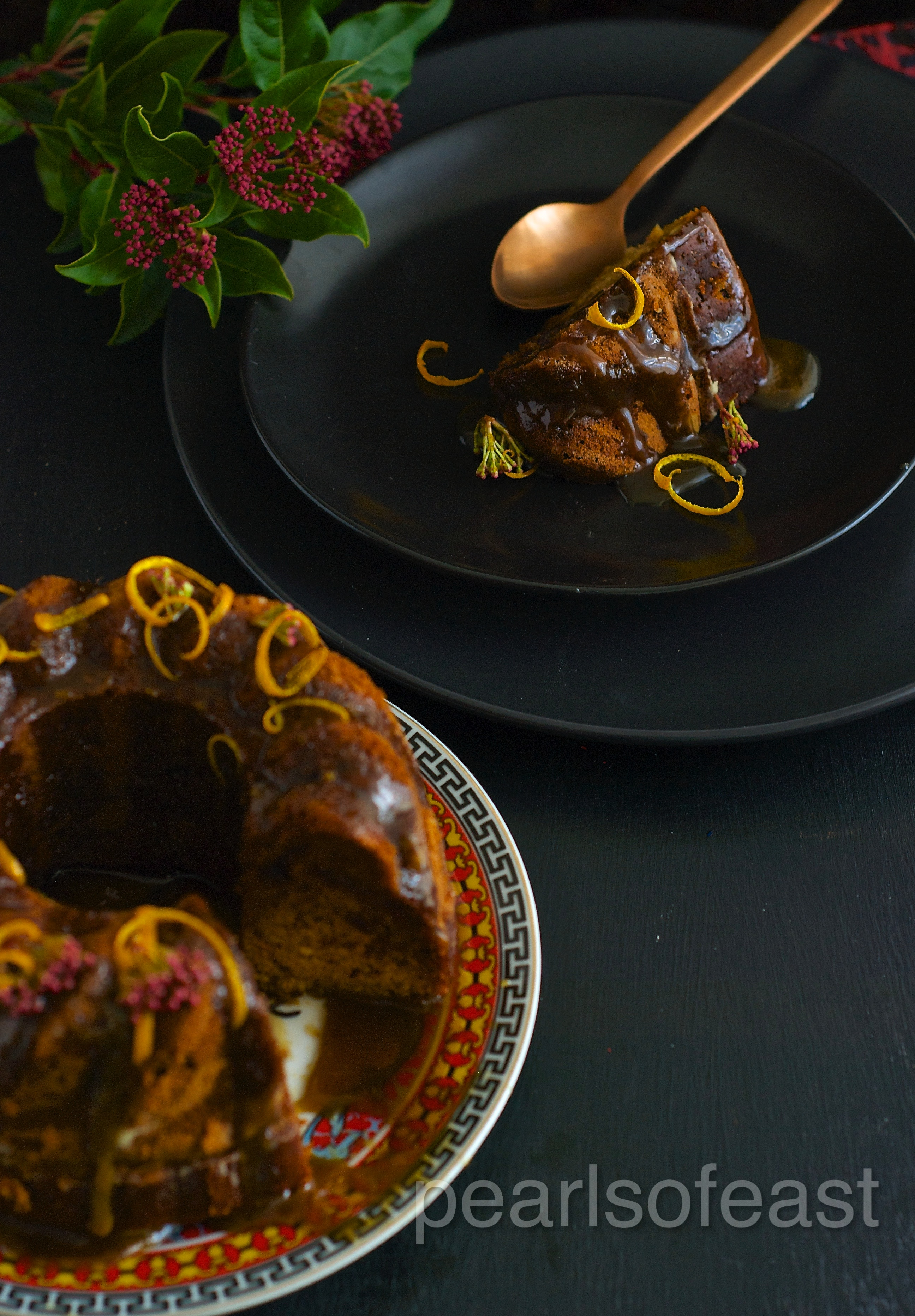 The dates in sticky date ginger cake makes it absolutely moist and the warm caramel sauce drizzled on it gives it an extra spark.