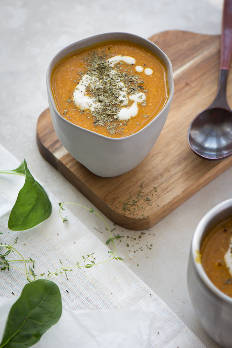 creamy pumpkin soup with cashew cream