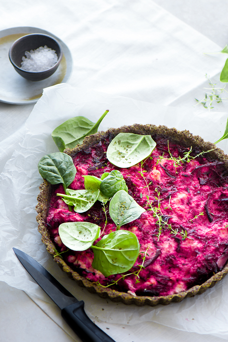 Beetroot and Ricotta tart using LSA