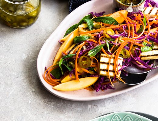 Seasonal juicy mango tossed with veggies and jalapeno dressing. This mango jalapeño salad Light, refreshing and zesty salad ideal for summer entertaining.