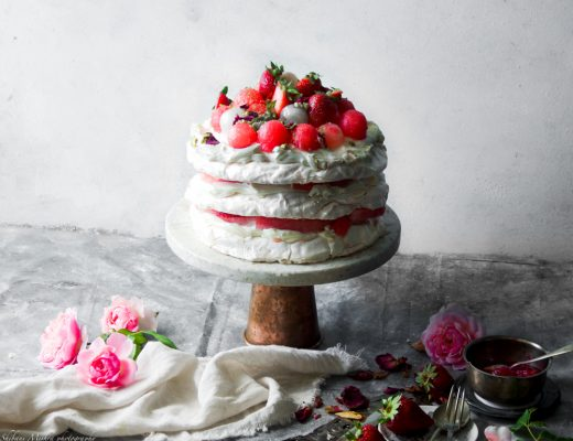 This rosewater pavlova is definitely a favourite of mine and, the combination of strawberries and watermelon infused with rosewater is an absolute must