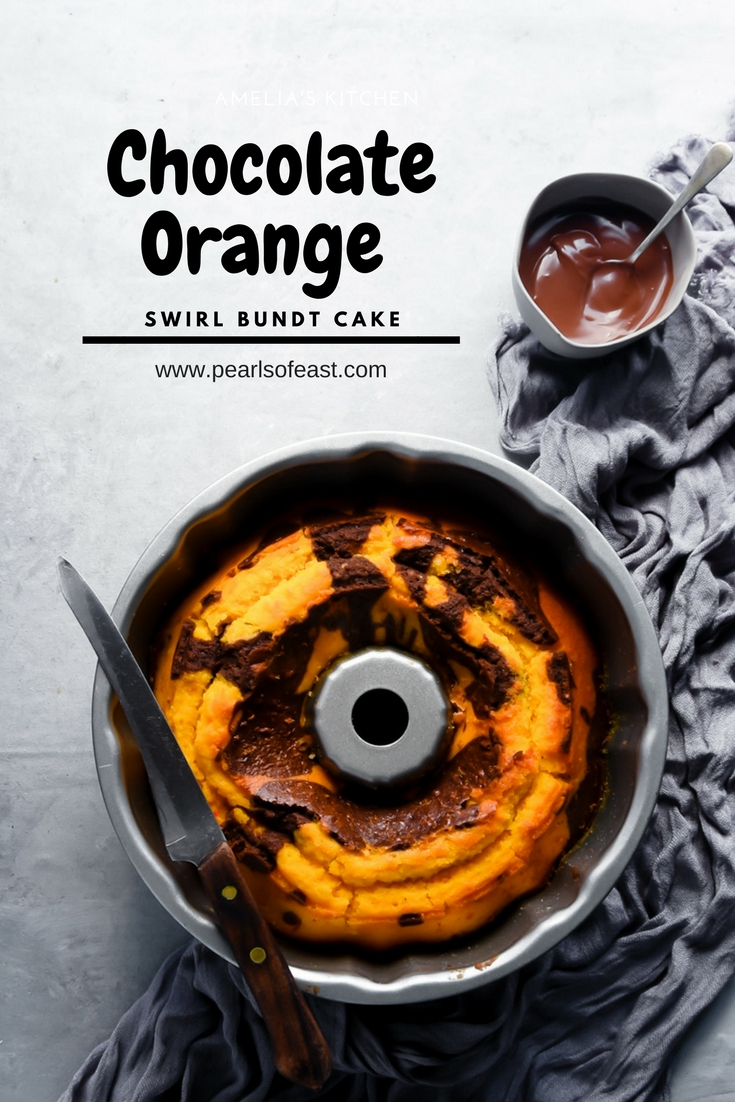Chocolate orange swirl bundt cake
