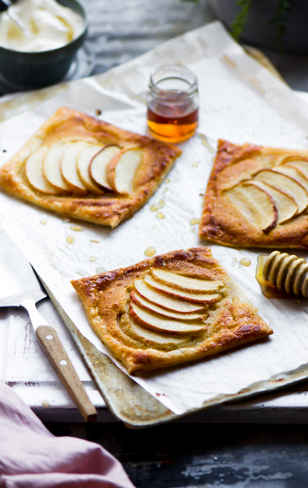 Having this warm flaky apple frangipane tart lined with apple and paired with glorious almond filling and served with double cream is simply irresistible.