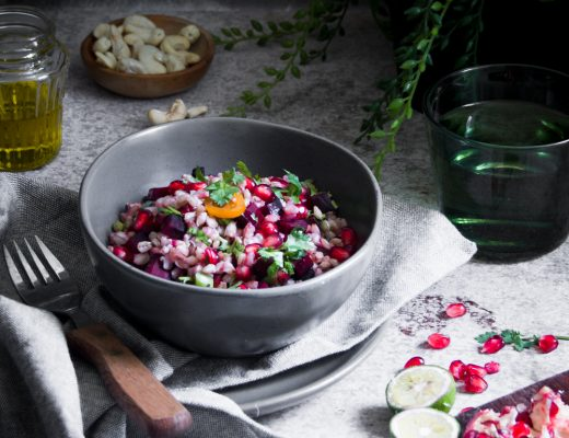 I feel barley is versatile enough to be served warm or at room temperature, as in this terrific salad with beetroot, coriander and pomegranate arils..
