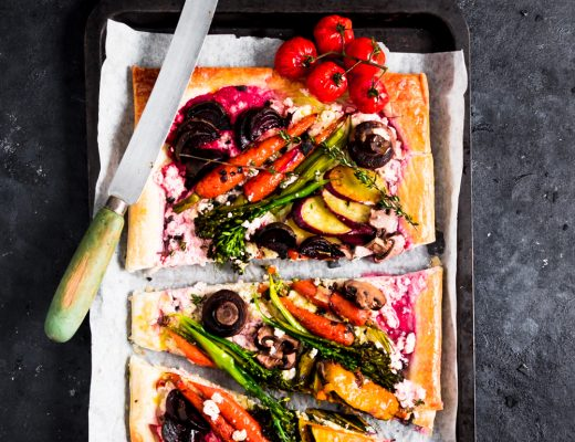 This roasted vegetable ricotta tart takes root vegetables to the next level. The creamy ricotta filling and buttery puff pastry is sure to impress.