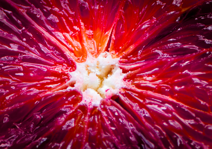 Macro view of blood orange
