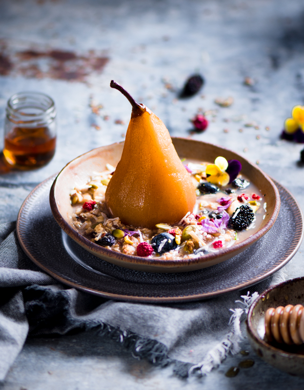 Poached pear with bircher muesli