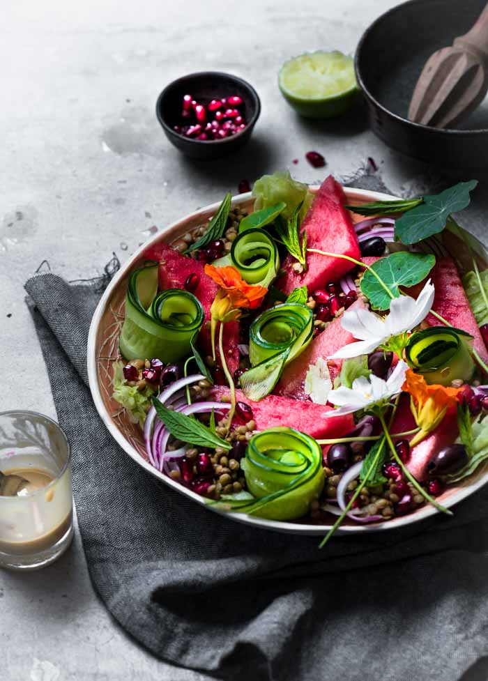 lentil watermelon salad, a perfect accompaniment for barbecues and entertaining. Light refreshing, colourful and above all bursting with amazing flavours