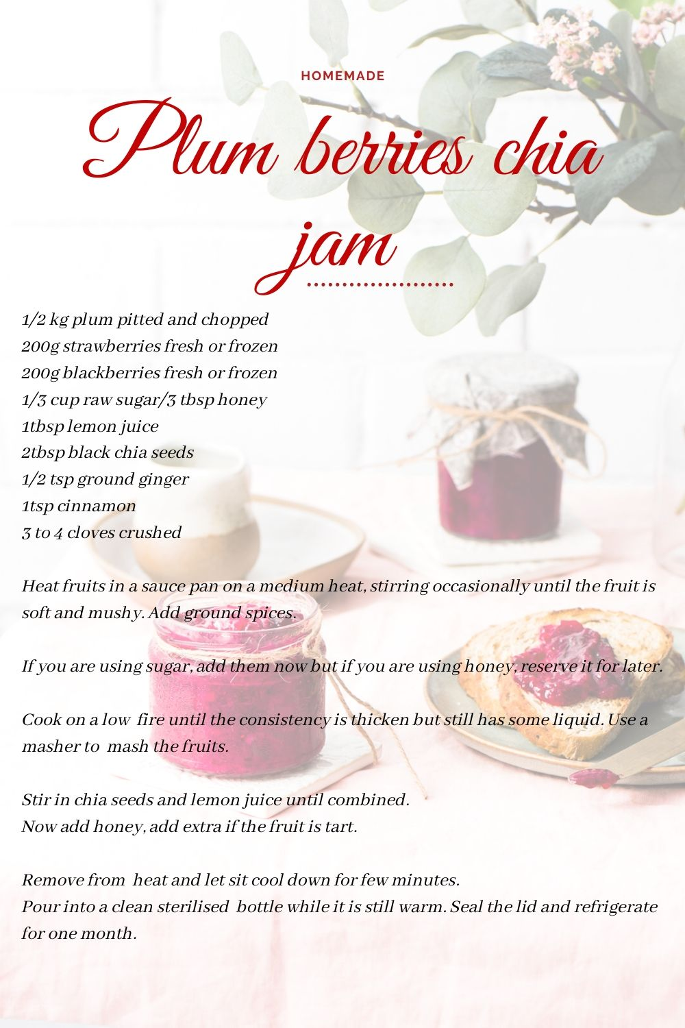 Plum, berry chia jam sounds great right.. absolutely delicious and not only that it s easy to make too. Chia seeds and spices adds a great flavour too.
