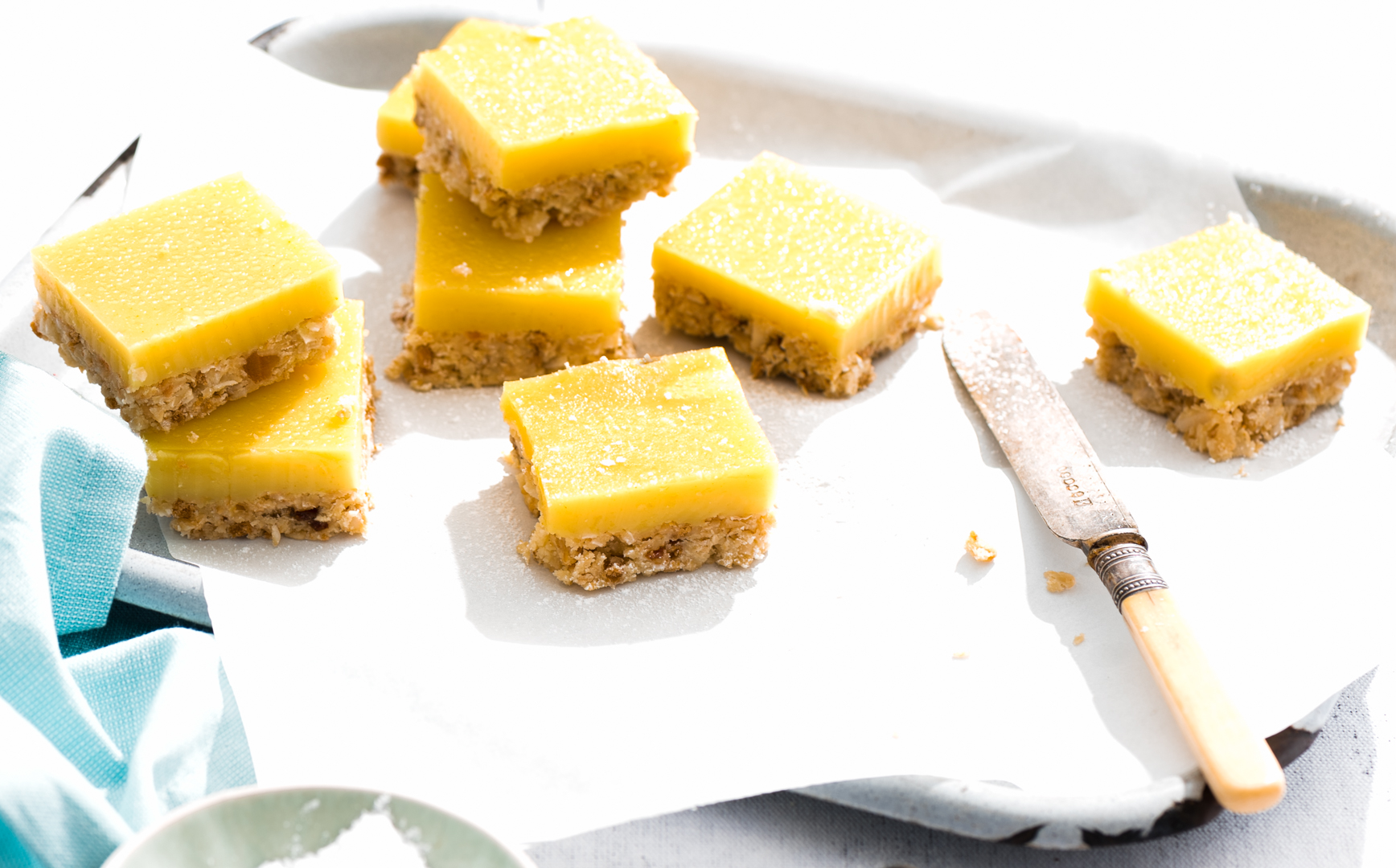 Eggless lemon bars are perfect treats for afternoon tea party. Bursting with lemony flavour and not to mention their amazing texture, hard to resist..